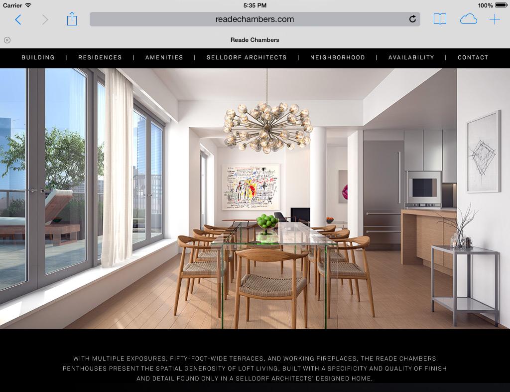 Reade Chambers website iPad