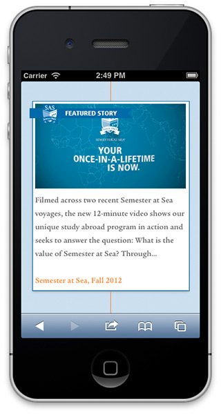 iPhone version, Semester at Sea 50th Anniversary website