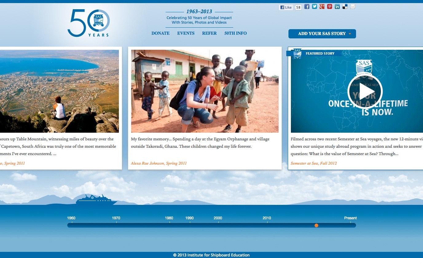 Desktop version, Semester at Sea 50th Anniversary website