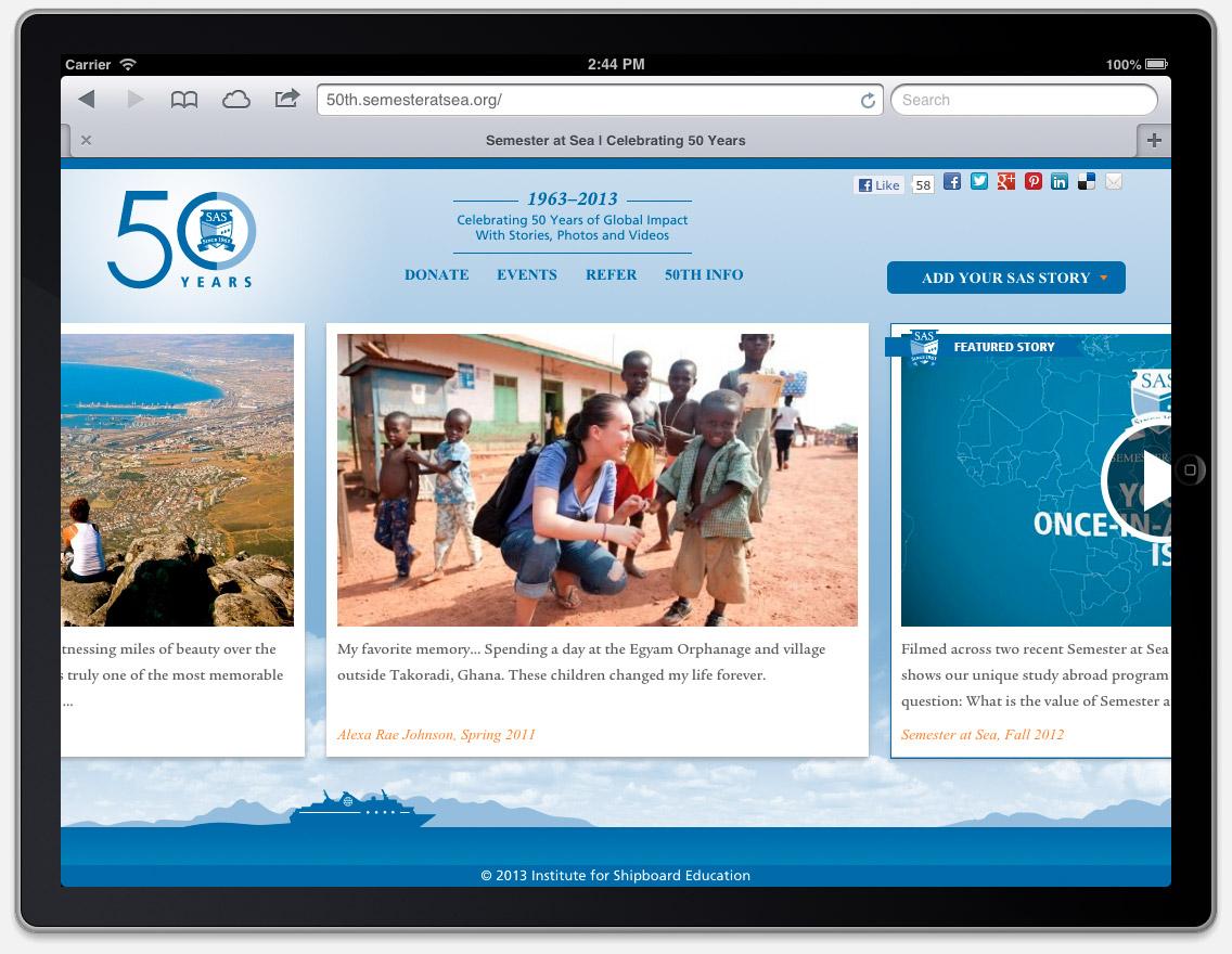 iPad version, Semester at Sea 50th Anniversary website