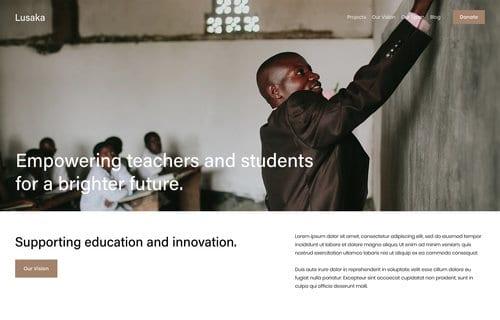 Lusaka nonprofit Squarespace template