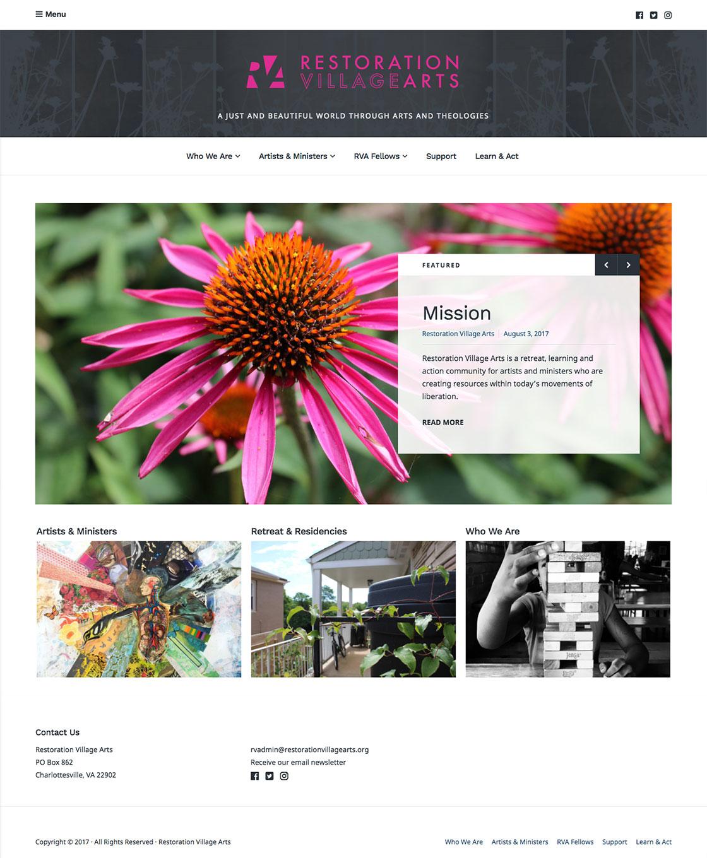 Restoration Village Arts homepage
