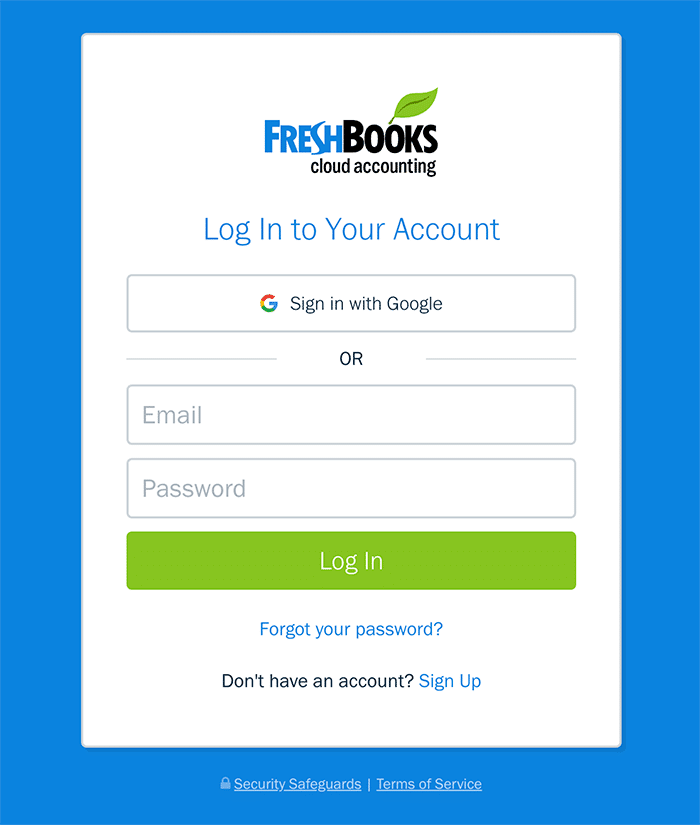 FreshBooks login form